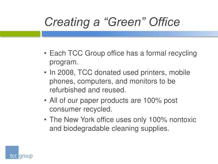 "Creating a ""Green"" Office"