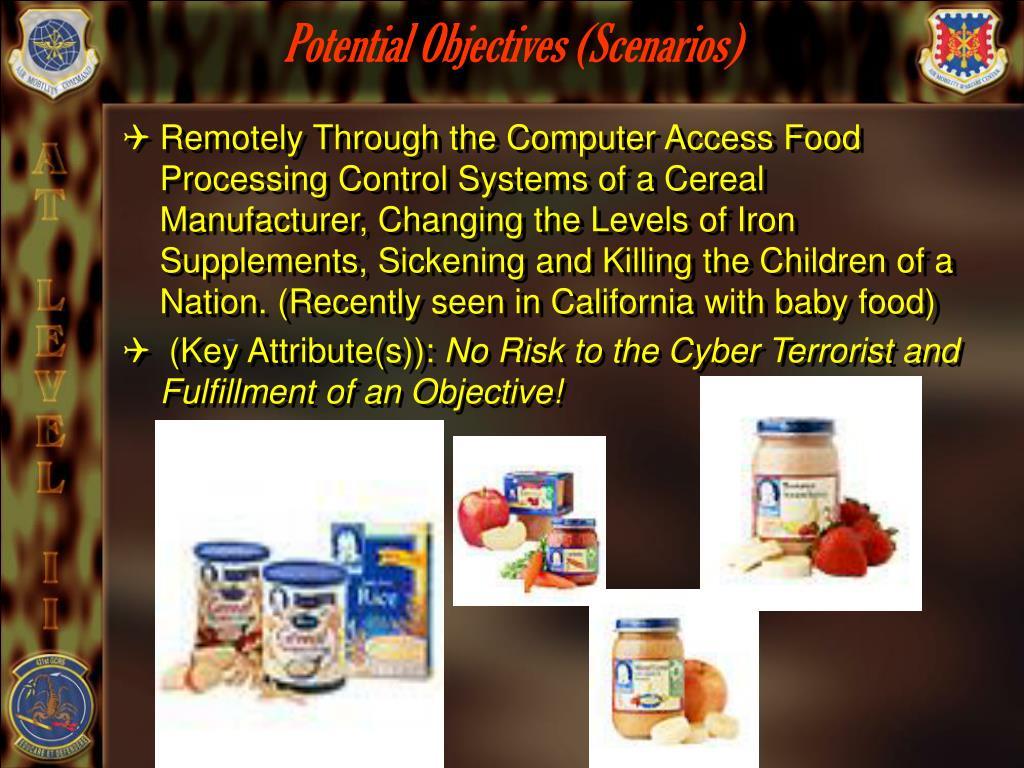 Potential Objectives (Scenarios)