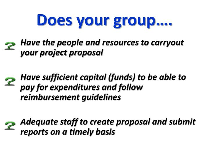 Does your group….