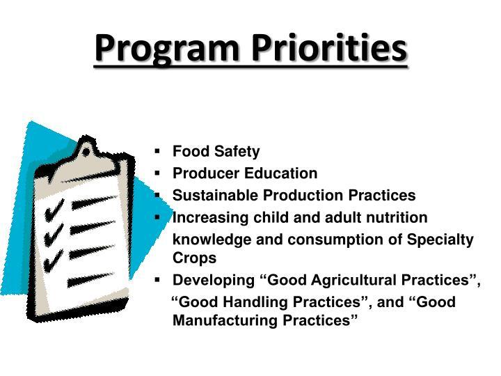 Program Priorities