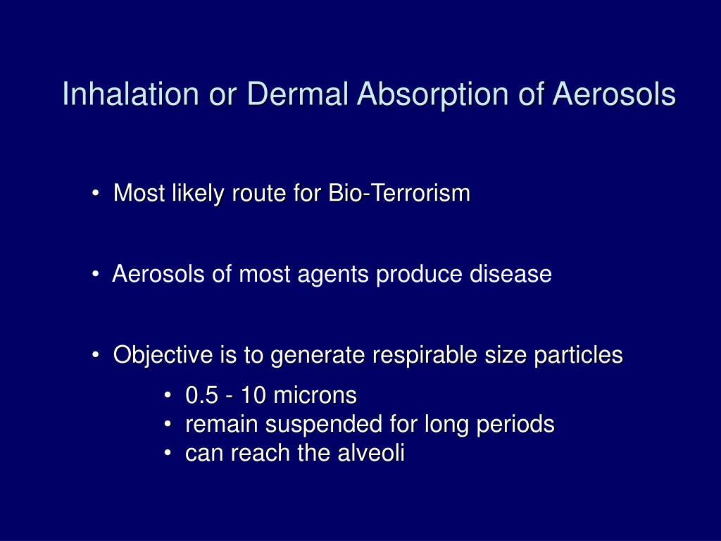 Inhalation or Dermal Absorption of Aerosols