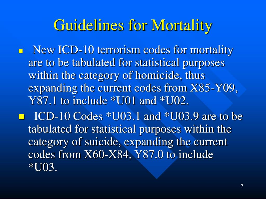 Guidelines for Mortality