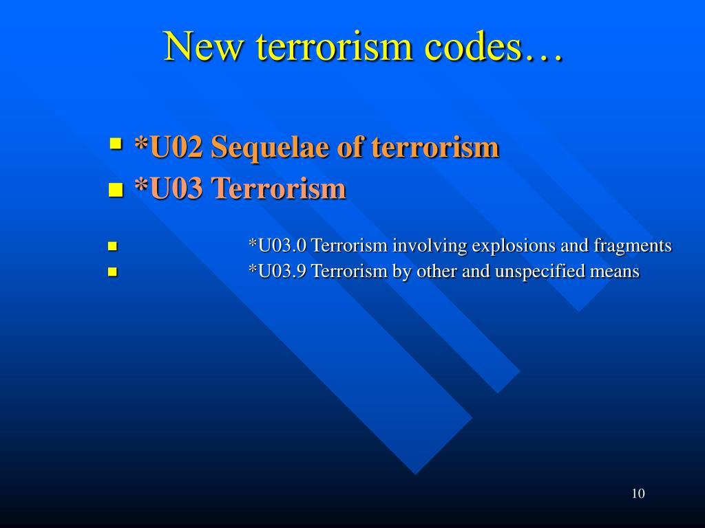 New terrorism codes…