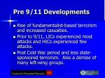 pre 9 11 developments