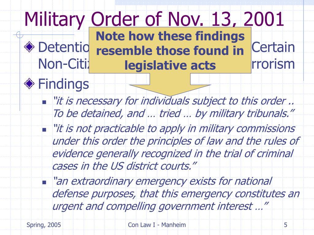 Military Order of Nov. 13, 2001