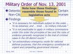 military order of nov 13 2001