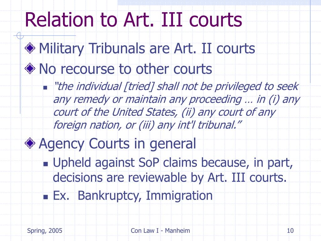Relation to Art. III courts