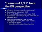 lessons of 9 11 from the em perspective