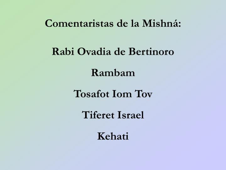 Comentaristas de la Mishn