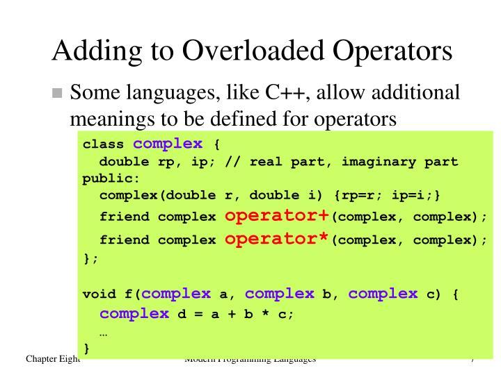 Adding to Overloaded Operators