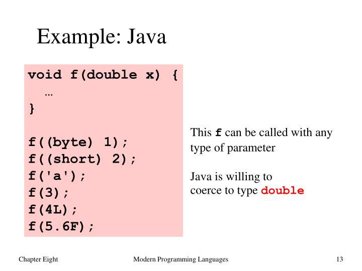 Example: Java
