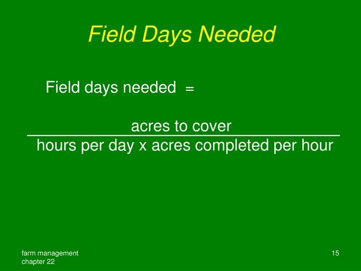 Field Days Needed
