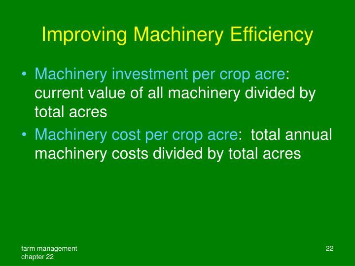 Improving Machinery Efficiency