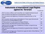 instruments of international legal regime against int terrorism