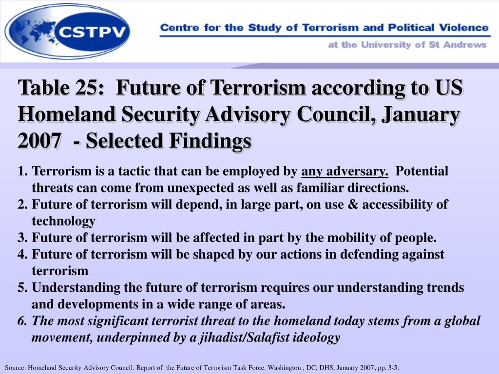 Table 25:  Future of Terrorism according to US Homeland Security Advisory Council, January 2007  - Selected Findings
