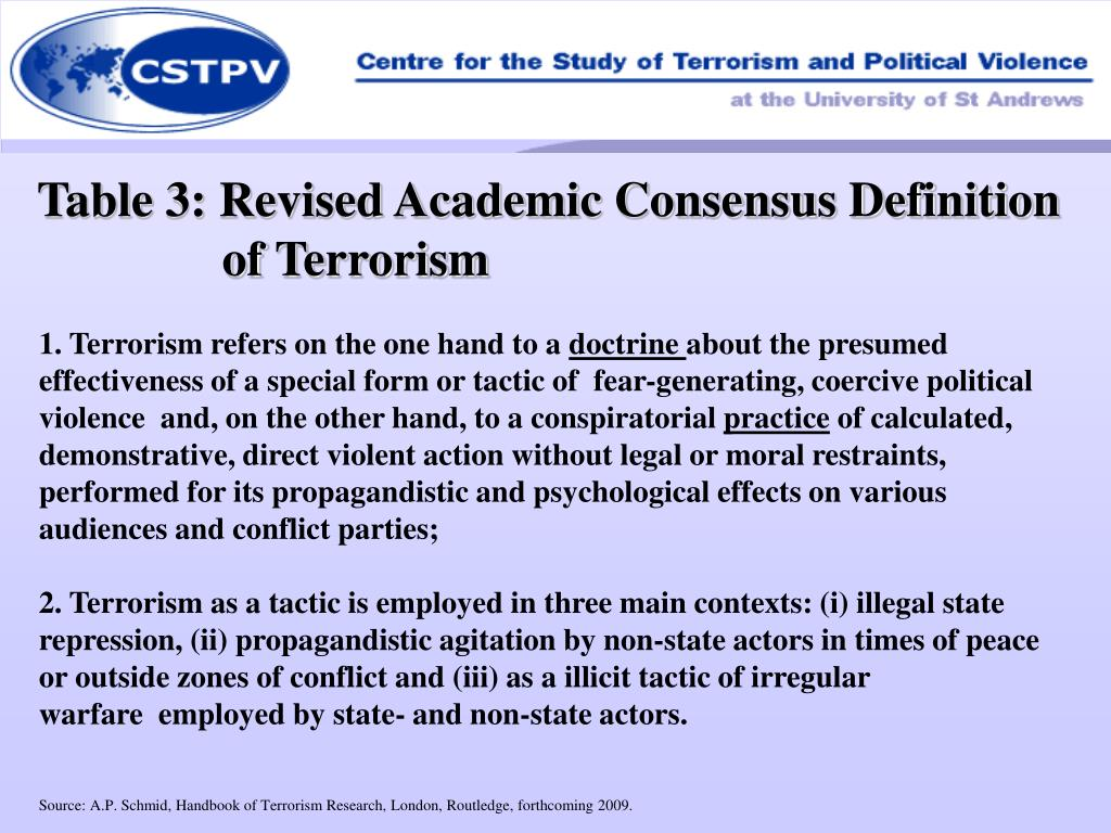 Table 3: Revised Academic Consensus Definition of Terrorism