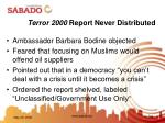 terror 2000 report never distributed