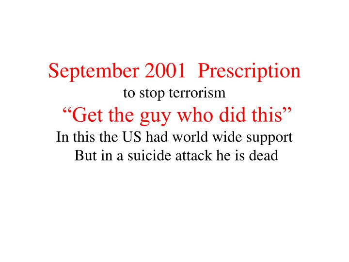 September 2001  Prescription