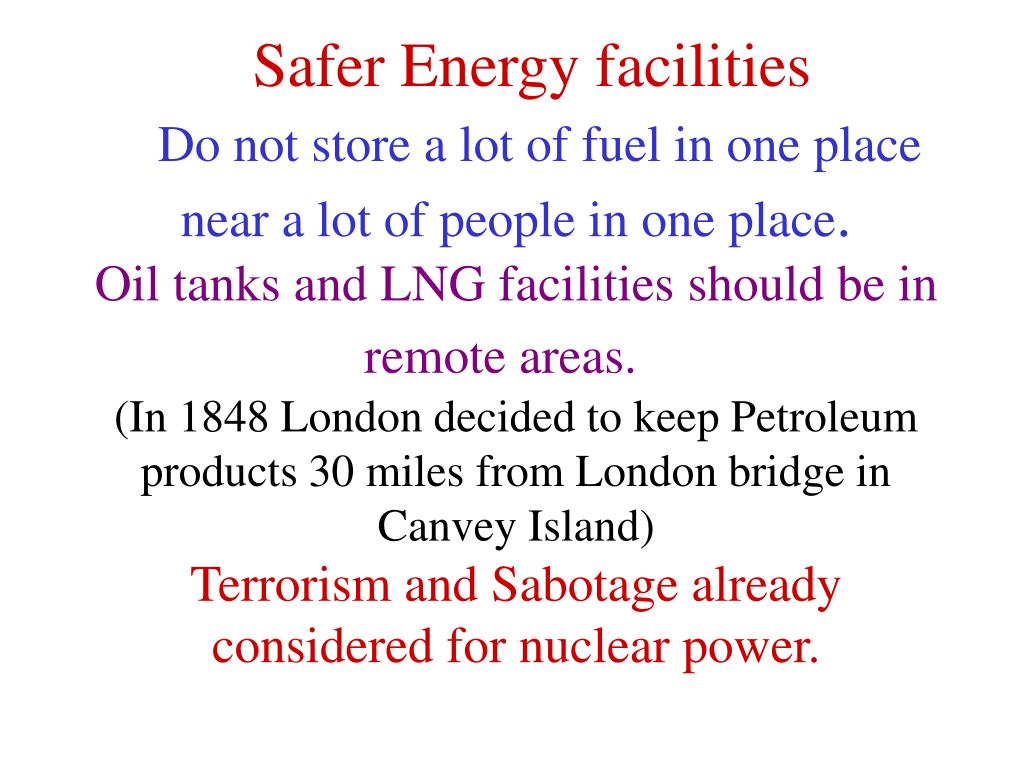 Safer Energy facilities