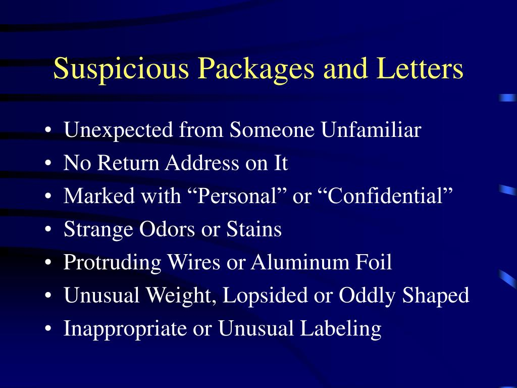 Suspicious Packages and Letters