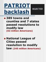 patriot backlash