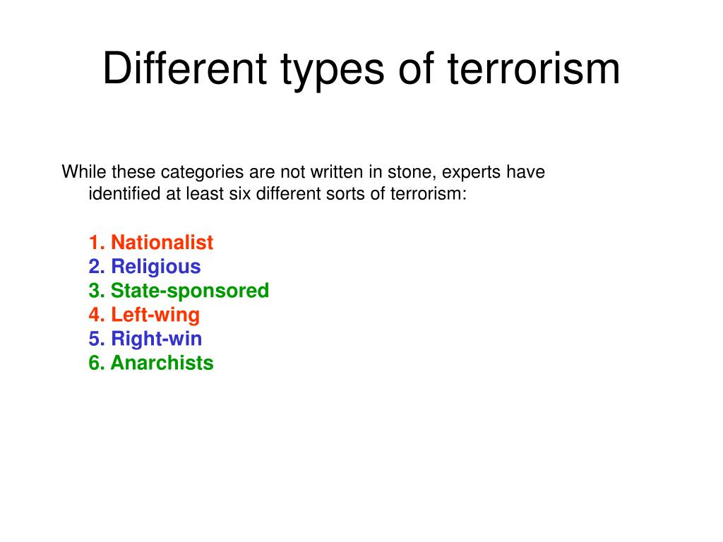Different types of terrorism