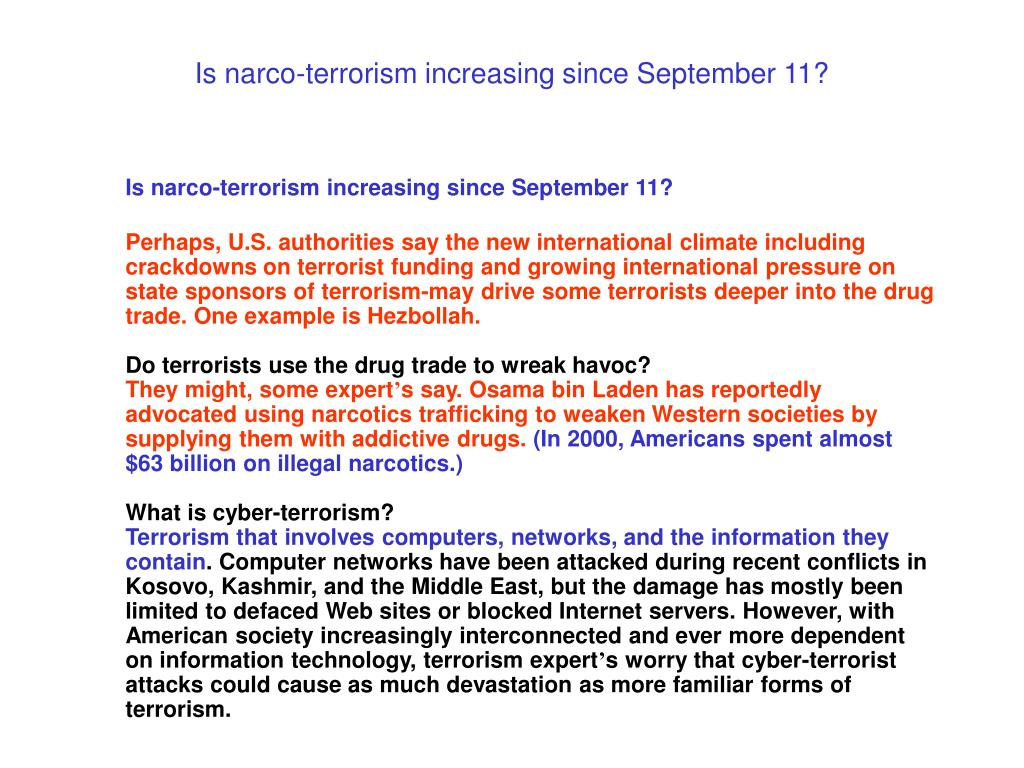 Is narco-terrorism increasing since September 11?