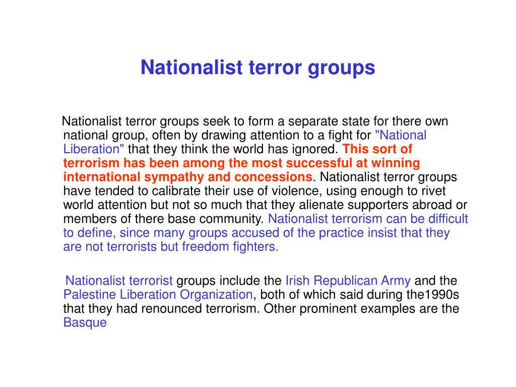 Nationalist terror groups