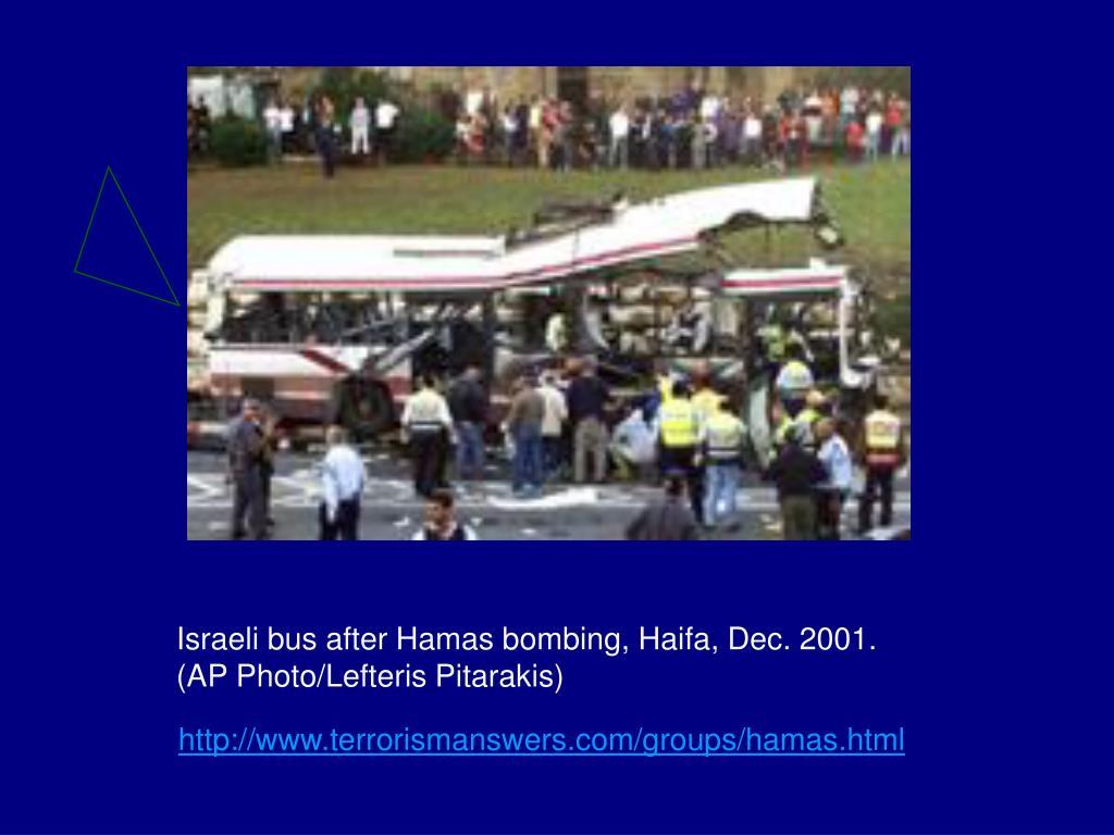 Israeli bus after Hamas bombing, Haifa, Dec. 2001.