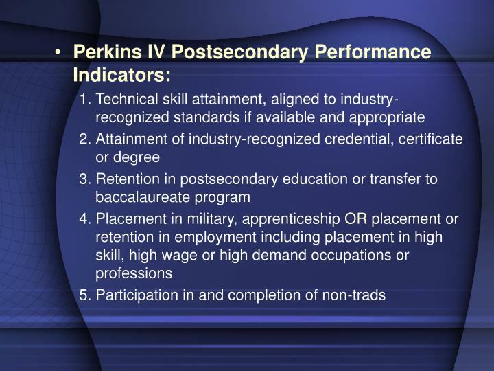 Perkins IV Postsecondary Performance Indicators: