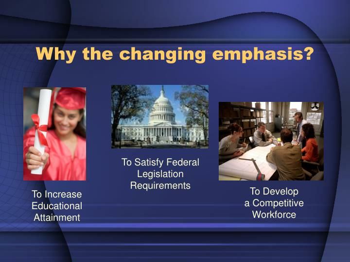 Why the changing emphasis?