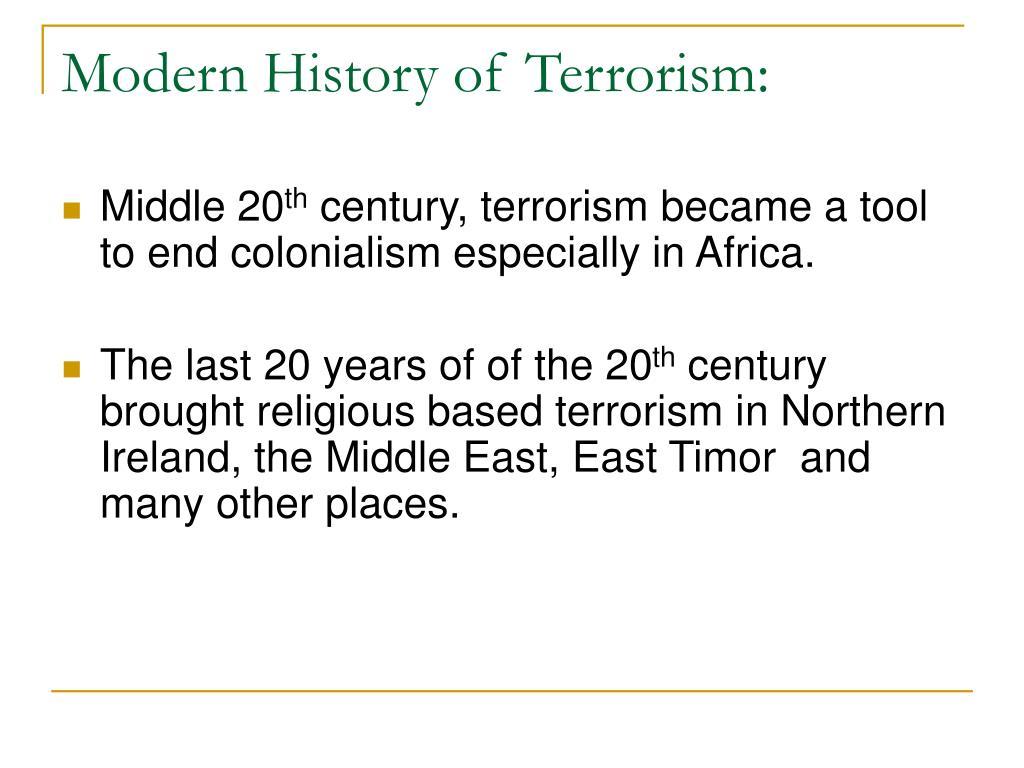 Modern History of Terrorism: