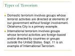 types of terrorism