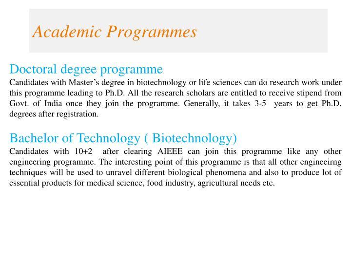 Academic programmes