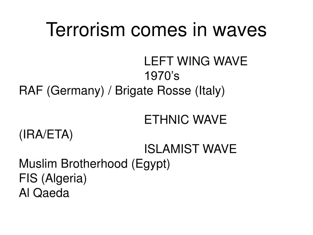 Terrorism comes in waves