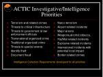 actic investigative intelligence priorities