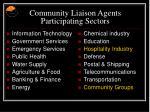 community liaison agents participating sectors