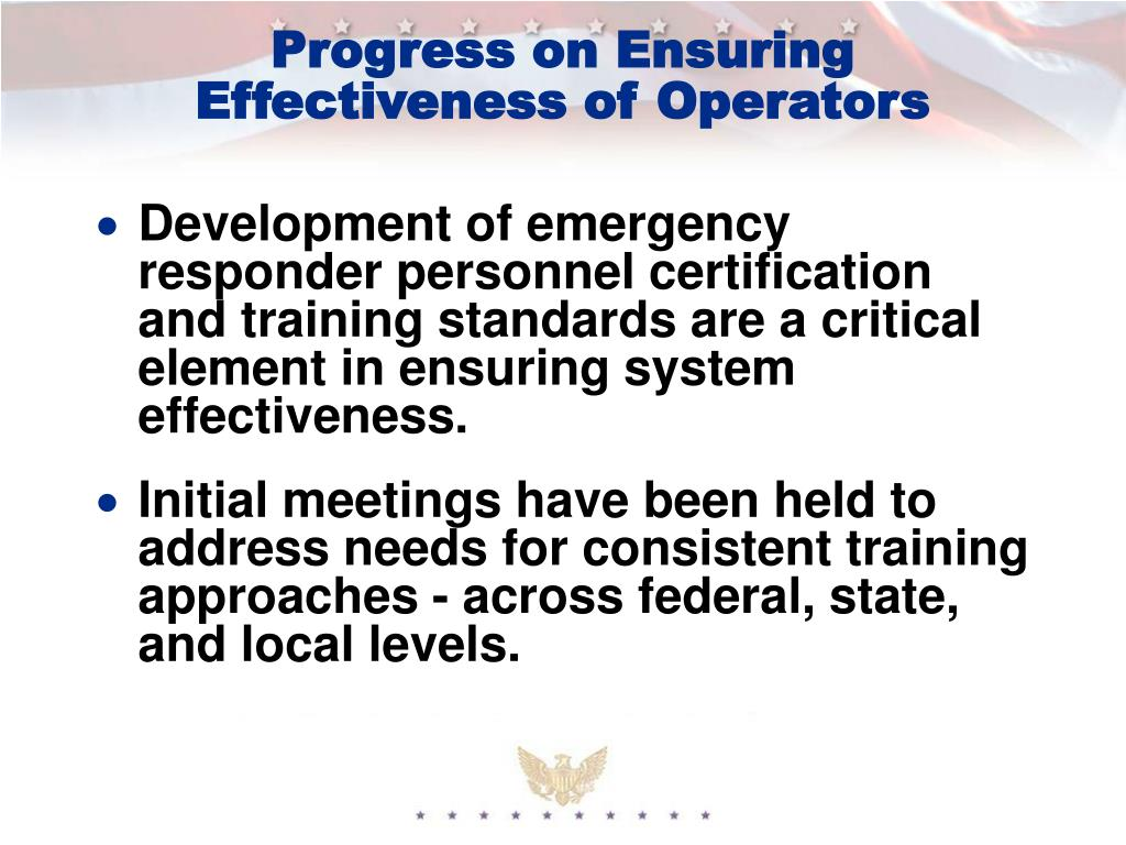 Progress on Ensuring Effectiveness of Operators