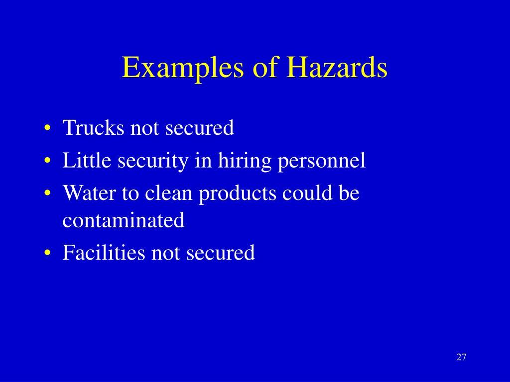 Examples of Hazards