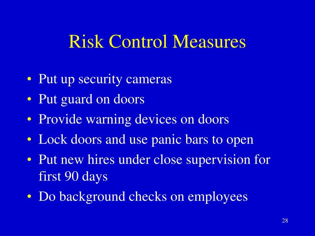 Risk Control Measures