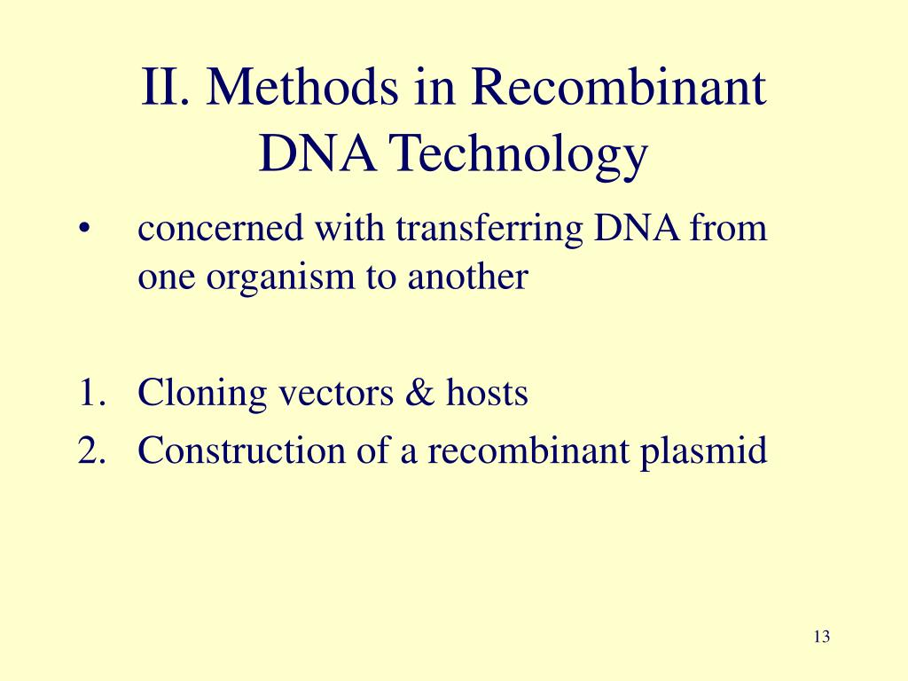 II. Methods in Recombinant DNA Technology