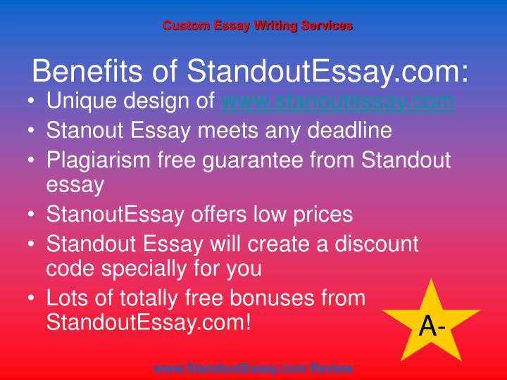 standout essay review Not sure how to write about yourself in your college application essay by incorporating these three tips, your essay can shine like i can't believe that i actually wrote them but reading them again got me thinking about how i could have made my essays stand out.