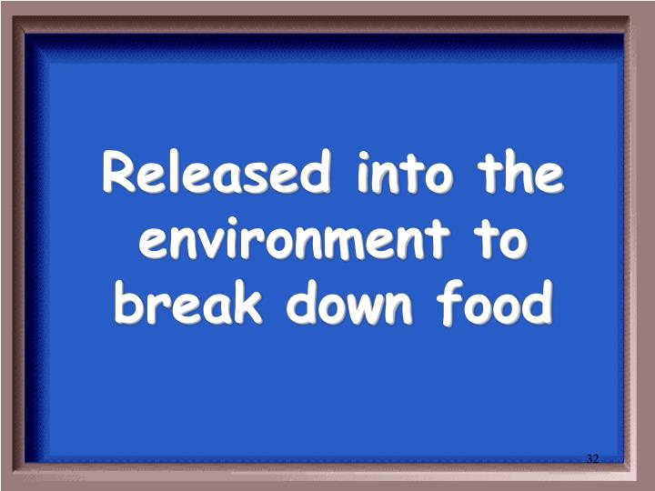 Released into the environment to break down food