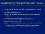 two competing strategies for human genome