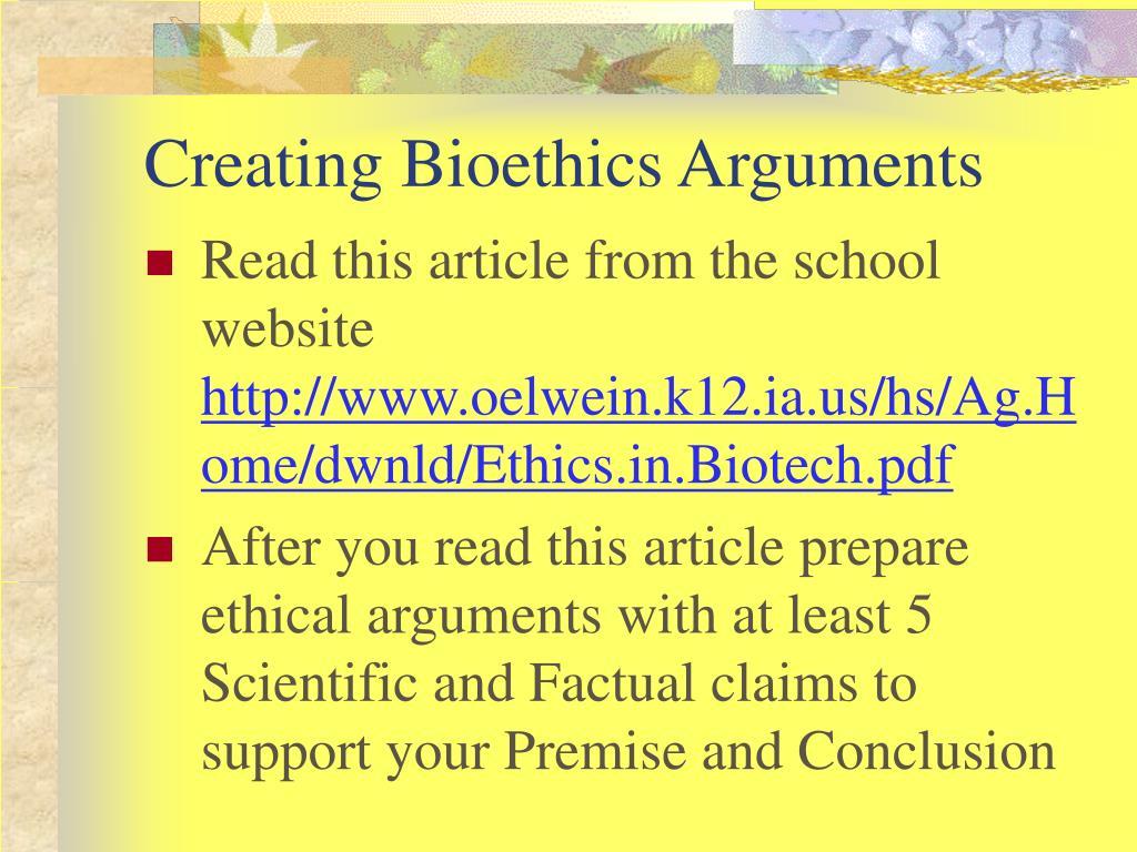 Creating Bioethics Arguments