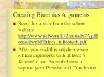 creating bioethics arguments