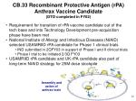 cb 33 recombinant protective antigen rpa anthrax vaccine candidate dto completed in fy02