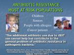 antibiotic resistance most at risk populations