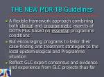the new mdr tb guidelines