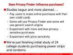 does privacy finder influence purchases